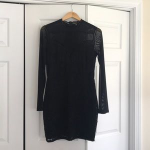 Black lace and mesh long sleeve sheer mini dress